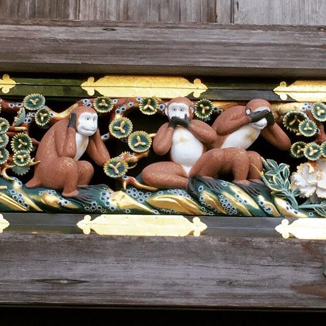 三猿。.思ったよりひょうきんな顔をしていました〜(/ω\)(笑)#日光東照宮 #三猿