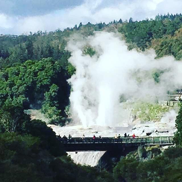 30mの間欠泉。.ポフツ。南半球最大の間欠泉。1時間に1〜2回噴き出します。タイミングが悪いと見られません〜(*_*).こんな感じに遠くから見た方が良かったかも?#夏休み2019 #ポフツ間欠泉 #ニュージーランド